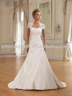 Long  Wedding Dresses | ... Hot sale short lace sleeve appliqued long trailing wedding dress