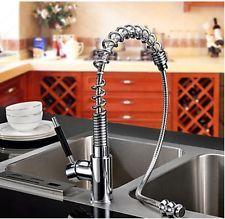 Modern Chrome Brass Spring Kitchen Faucet Vessel Sink Mixer Tap Pull Out Sprayer