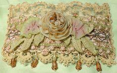 Cuff  Bracelet  Roses ribbonwork Marie by lambsandivydesigns