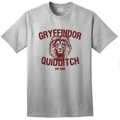 Gryffindor Quidditch w/Lion Adult Unisex Sport Grey Shirt ($9.95) ❤ liked on Polyvore featuring tops, lion shirt, checked shirt, sport top, sport shirt and lion print shirt