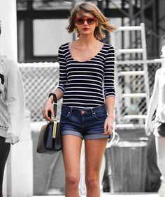 Scoopneck + Stripes + Denim Shorts
