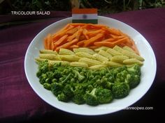 Tricolour Salad (Tiranga Salad) - A healthy salad made with 3 colored vegetables makes its look and taste appealing. Healthy Salads, Healthy Recipes, Indian Salads, Indian Independence Day, Independance Day, Easy Indian Recipes, Sauteed Vegetables, Salad Ingredients, How To Make Salad