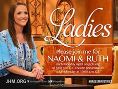 Join Kendal and Diana tonight online at getv.org at 8:00 p.m. CT for the Women's Discipleship Class, Naomi & Ruth. This is a great class for women of all ages. Log on and let's grow in the Lord together! #naomiandruth