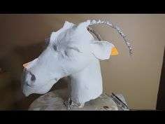 Making the Dragon's Head, Part 2 – the Plaster Cloth – Ultimate Paper Mache Paper Mache Letters, Paper Mache Clay, Paper Mache Sculpture, Sculpture Ideas, Foam Carving, Diy Masque, Plaster Crafts, Cow Head, Origami And Quilling