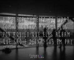 A melhor maneira de lidar com os outros é tomá-los por aquilo que eles acham que são e deixá-los em paz António Lobo Antunes