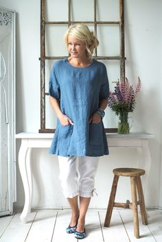 SIMPLE Linen tunic, JEANS - New items - BYPIAS