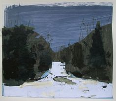 January Snow Original Landscape Collage Painting on by Paintbox