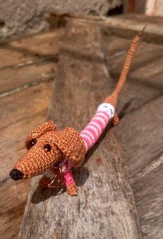 Crochet Dog Dachshund Small Amigurumi Toy Crochet Bracelet Dog Make to order Crochet Stitches For Blankets, Crochet Blanket Patterns, Crochet Baby Booties, Crochet Slippers, Crochet Home, Crochet Yarn, Stuffed Animals, Dachshund, Crochet Ripple Afghan