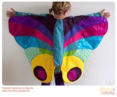 Schmetterlingumhang, Schmetterling Schnittmuster und Nähanleitung, Flügel, wings, Schmetterlingflügel, Caterpillar, Raupe, Regenbogenfarben, Umhang, Fasching, Karneval, Fastnacht, Fliegen, Verkleiden, Verkleidung