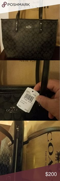 Coach handbags and totes New and original black coach zip city tote. Coach Bags Totes