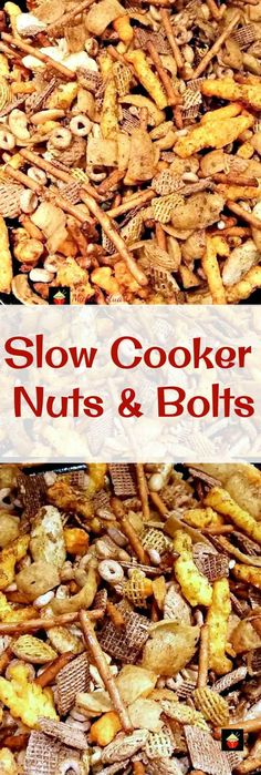 Slow Cooker Nuts and Bolts.A very easy and flexible recipe, adjust according to your taste, and add different seasonings and ingredients.Lots of flavor suggestions in the recipe Trail Mix Recipes, Snack Mix Recipes, Healthy Recipes, Appetizer Recipes, Snack Mixes, Healthy Snacks, Dip Recipes, Candy Recipes, Clean Recipes
