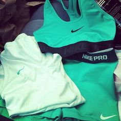 Mint Nike workout clothes even better Workout Attire, Workout Wear, Workout Outfits, Workout Style, Fitness Outfits, Gym Style, Cute Gym Outfits, Nike Outfits, Soccer Outfits