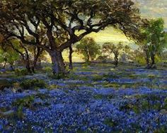 Old Live Oak Tree and Bluebonnets on the West Texas Military Grounds, San Antonio - Robert Julian Onderdonk