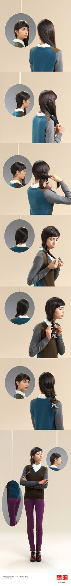 """""""THE TWIST BRAID"""" : Our ultra stretch pants, sweater and this textured braid make a great office look. Click the image for DIY instructions! #Braids #DIY #Hair #Hairstyle #Uniqlo #FW2013 #HairDo"""