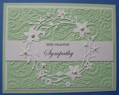 Sympathy card using Memory Box Catalina Wreath die