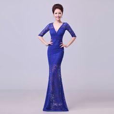 2014 New Arrival High Quality navy blue Half Sleeve deep V-neck Sexy Lace Beading Sheath/Column Formal Illusion Evening dresses $70.00