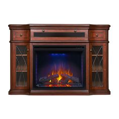 Colbert Electric Fireplace Media Console in Antique Mahogany - NEFP33-0614AM