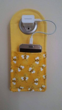 Your place to buy and sell all things handmade Bumble Bee Cell Phone charging station Small Sewing Projects, Sewing Projects For Beginners, Sewing Hacks, Sewing Tutorials, Sewing Patterns, Free Tutorials, Wallet Sewing Pattern, Sewing Tips, Fun Projects