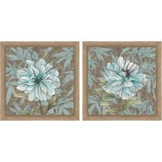 Framed Graphic Simple Floral Wall Art, 14 inch x 14 inch, Set of 2, Multicolor