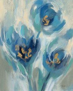 Framed Blue Fairy Tale Floral I Print