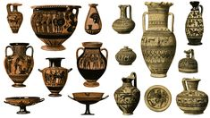 A selection of Ancient Greek pots