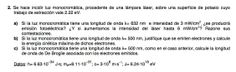 Ejercicio de Física Moderna propuesto en el examen PAU de Canarias de 2012 - 2013 Setiembre, Opción A.