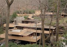 Fallingwater-Kaufman Residence, 1936-1939. Bear Run Creek in Mill Run, Pennsylvania, Frank Lloyd Wright, Architect