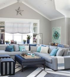 Coastal Sitting Room in Navy Stripes and Turquoise