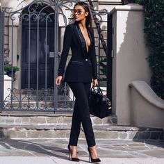 """Bo$$ Lady. Shop the Masson suit and Paris heels in Oxblood. Shop: houseofcb.com @cibellelevi"""