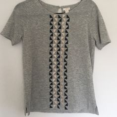 J. Crew short sleeved sweater! Gold and black embroidery on this pretty heathered grey light weight sweater from j. Crew. Side slits at the bottom. Love but just haven't worn. Sending it to a better home! Made of 55 percent wool, 45 percent acrylic. J. Crew Tops Blouses