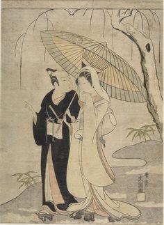 Ippitsusai Buncho Title:CROW AND HERON: ACTORS ICHIKAWA YAOZO 2ND AND SEGAWA KIKUNOJO 2ND AS TWO YOUNG LOVERS, Edo period, circa 1765-1770