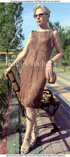 Связанное на спицах платье «Шоколадный десерт» 44 размера.