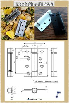 A self-closing spring-loaded hinge, model 258. Painted steel or stainless steel, different bearings. Made in Finland. Learn more about this one and our other hardware models on our website! Types Of Hinges, Gate Hinges, Finland, Closer, Industrial, Hardware, Stainless Steel, Doors
