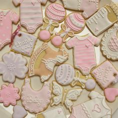 Exquisite Baby Shower Cookies. Large sugar cookies/royal icing - onesies, bibs, bottles perfect as thank-you gifts for your shower presents