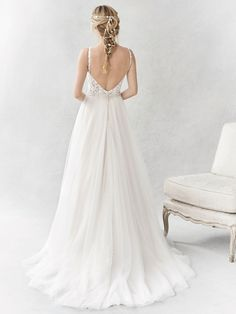 Ella Rosa Style BE358 | lovely style with illusion lace low-back and plunging neckline with beaded accents  | romantic wedding dress | bridal gown