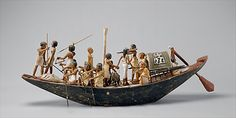Sporting Boat  Period: Middle Kingdom Dynasty: Dynasty 12 Reign: reign of Amenemhat I, early Date: ca. 1981–1975 B.C. Geography: Egypt, Upper Egypt; Thebes, Southern Asasif, Tomb of Meketre (TT 280, MMA 1101), Serdab, MMA 1920 Medium: Plastered and painted wood, linen, linen twine, copper