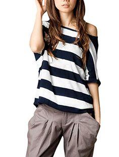 Allegra K Ladies Asymmetric Neckline Dolman Sleeve Stripe Top T Shirts Allegra K http://www.amazon.com/dp/B00KOGS85O/ref=cm_sw_r_pi_dp_cLMPvb1BFCNXW