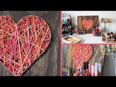 Diy: valentine's day room decor/gift idea. Valentines Day Decorations, Valentines Diy, Printable Valentine, Valentine Wreath, Christmas Decorations, String Art Heart, Christmas Living Rooms, Apartment Christmas, Origami Rose