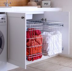 Laundry Storage solution - Modern - Baskets - sydney - by Tansel Laundry Cupboard, Laundry Nook, Laundry Room Remodel, Laundry Room Organization, Laundry In Bathroom, Bathroom Renos, Bathroom Storage, Laundry Baskets, Modern Laundry Rooms