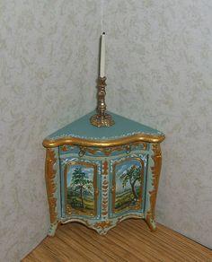 Dollhouse Mini Painted Rococo Corner Cabinet Cupboard w Landscape OOAK L.Lassige in Dolls & Bears, Dollhouse Miniatures, Artist Offerings | eBay
