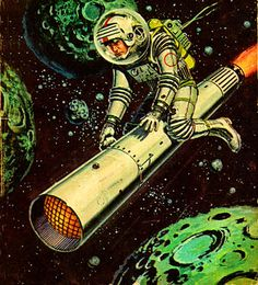 The Secret of Saturns Rings, 1954.  I'm on a flying cigarette!  Spaceship, pulp retro futurism back to the future tomorrow tomorrowland space planet age sci-fi airship steampunk dieselpunk