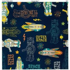 Childrens Fabric online Australia, Atomic Bots fabric by Wilmington Prints | Black Tulip Quilts