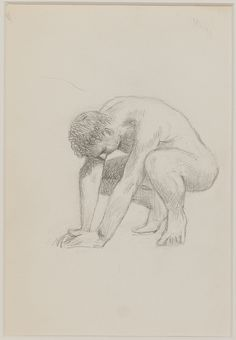 'Untitled' (Crouching Male Nude) by Jared French. Graphite and conte crayon on tan wove paper.
