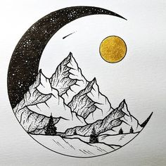 Half Moon Drawing Sketch - Half Moon Landscape Art Drawings Black And White Illustration Crescent Moon Sketch At Paintingvalley Com Explore Collection Of Mandala Half Moon Half . Art Drawings Sketches, Ink Illustrations, Cute Drawings, Pencil Art Drawings, Moon Illustration, Moon Sketches, Circle Drawing, Moon Drawing, Circle Art