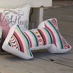 Junk Gypsy Serape Stripe Arrow Pillow $49 Visit bit.ly/junkgypsycollection Or call 1-866-472-4001 to pre-order this item.