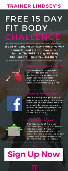 32 best fit workout challenges images on pinterest fitness trainer lindeys free 15 day fit body challenge youll get meal plans fandeluxe Images