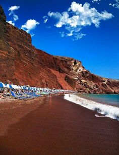 The famous red beach in Santorini