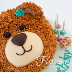 Teddy Bear Birthday Cake with Modelling chocolate kitten