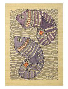 Rising Up Fish (Madhubani Artwork on Handmade Paper)