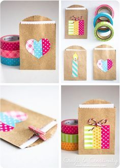 Simple and cute way to decorate mini party favor bags. Would be cute for cards, too.